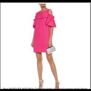 Badgley Mischka pleated woven mini dress